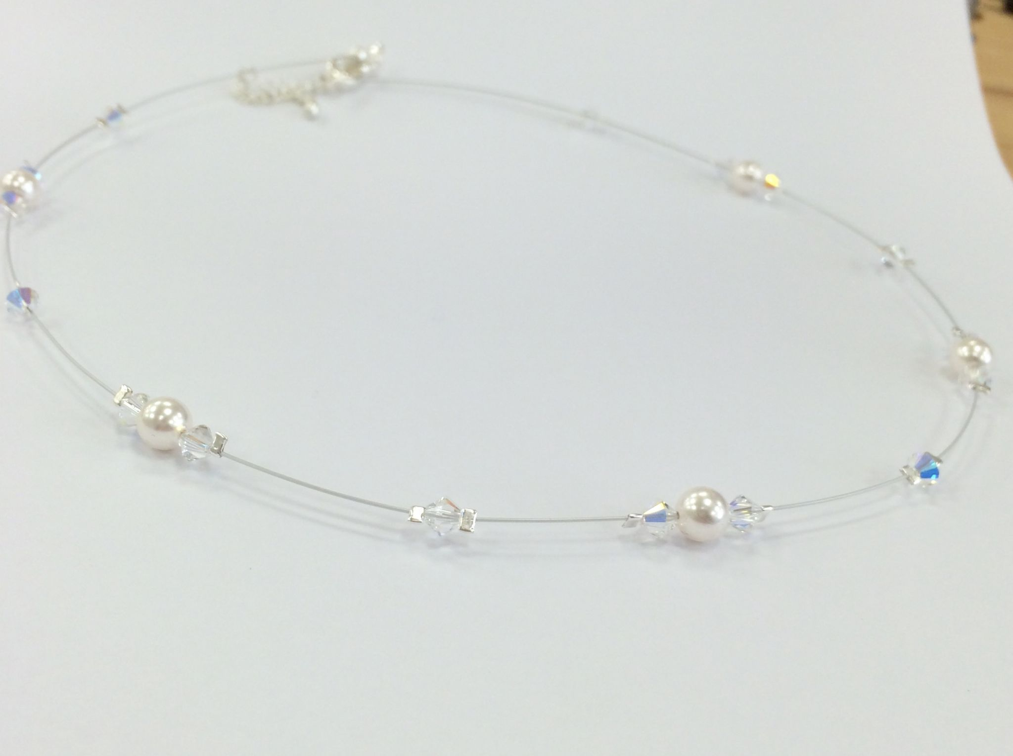 Swarovski Elements Floating Crystal And Pearl Necklace